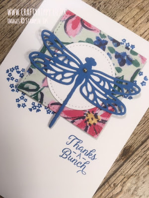 Handmade dragonfly card with Pacific Point blue dragonfly, and colourful flower detail made with the Detailed Dragonfly Thinlits Dies by Stampin' Up!