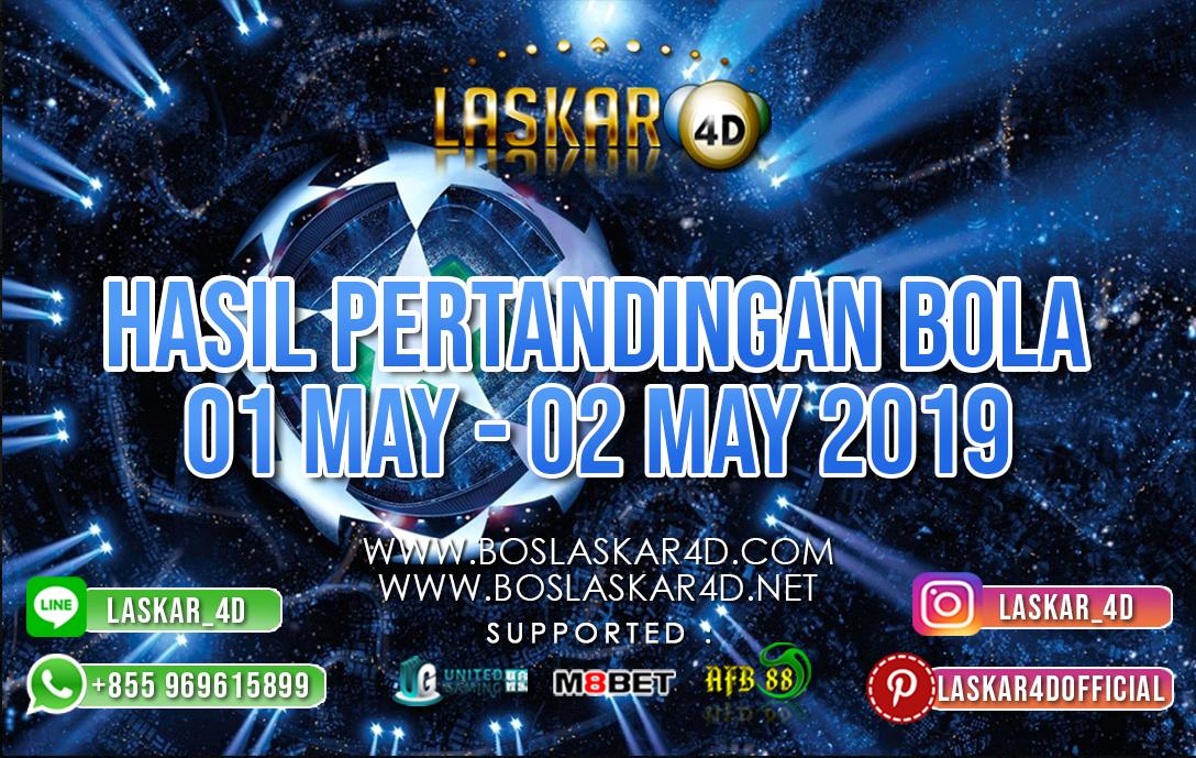 HASIL PERTANDINGAN BOLA 01 – 02 MAY 2019