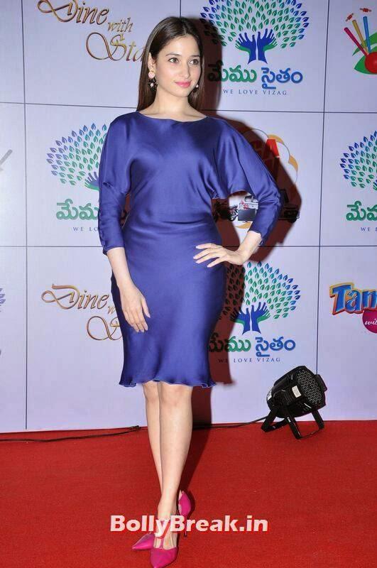 Tamanna Unseen Stills, Tamanna Bhatia Hot Pics in Blue Dress
