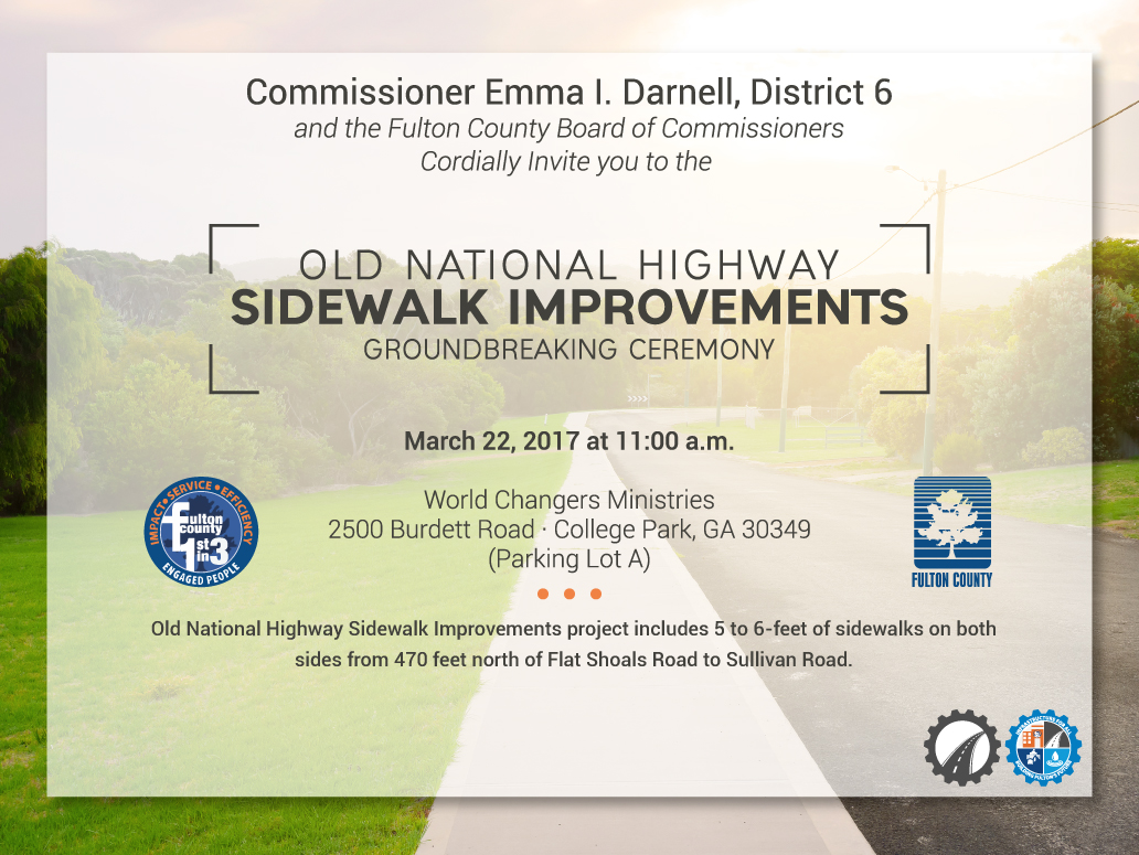 Fulton county government march 2017 fulton county public works will break ground on new sidewalk improvements on old national highway on wednesday march 22 2017 at 1100 am the aiddatafo Gallery