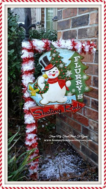 Candy Cane Yard Flag Stand-Vintage Inspired Snowman Sign-Christmas Front Porch-From My Front Porch To Yours