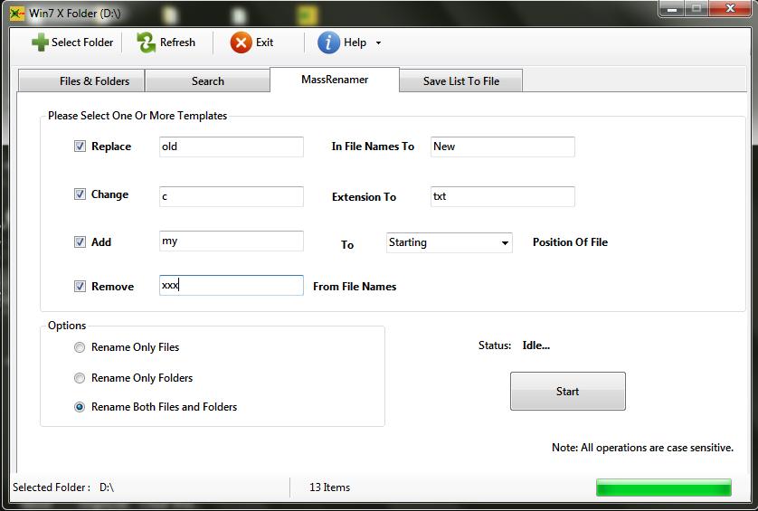 Win7 X Folder batch rename utility
