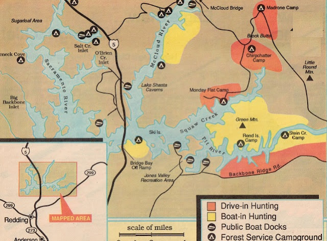 2016 Lake Shasta Turkey Hunting map and turkey report, how to hunt lake shasta
