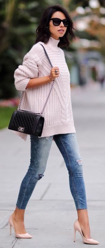 how to style a knit sweater + bag + ripped jeans + heels