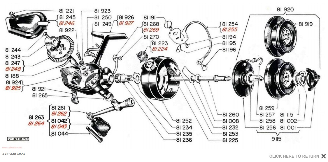 shakespeare fishing reel parts diagrams