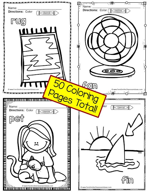 Fern Smith's Classroom Ideas - Freebie Friday Color for Fun Short Vowels Bear CUB sample page at TeacherspayTeachers.