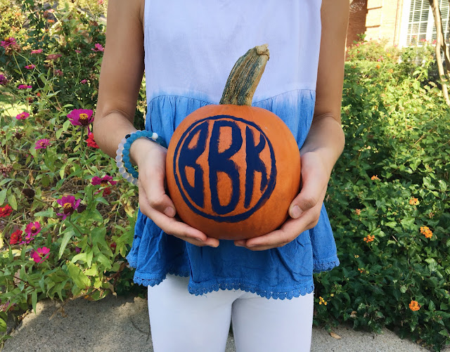 DIY Monogram Pumpkin // Live The Prep Life
