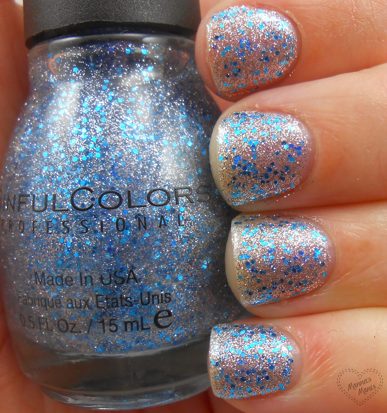 sinful colors ice dream, a silver and blue glitter nail polish