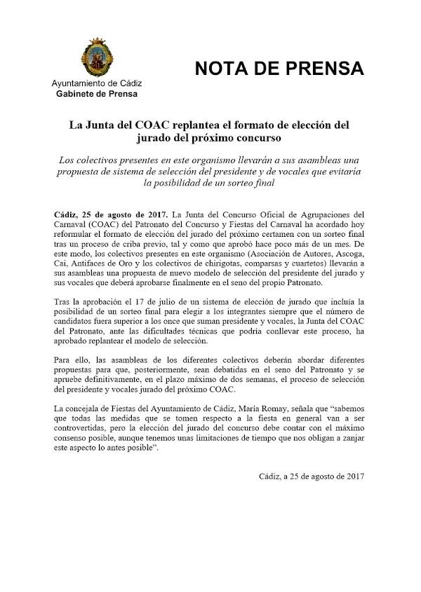 La Junta del COAC replantea el formato de elección del jurado del próximo concurso