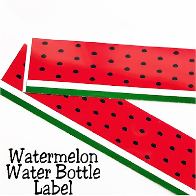 Keep hydrated and on topic with your Watermelon party with these printable Watermelon Water Bottle labels.  #watermelon #waterbottlelabel #partyprintable #diypartymomblog