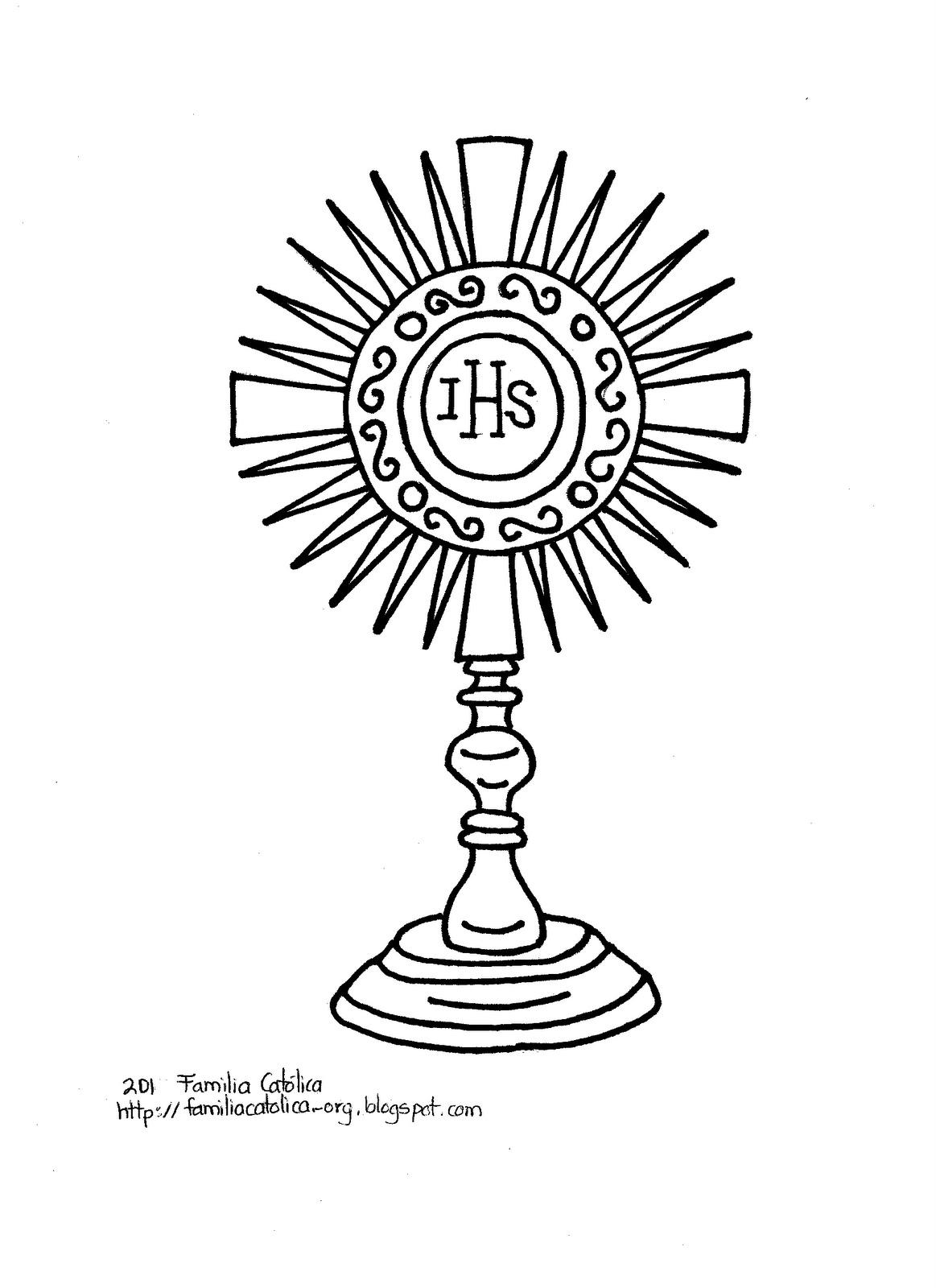 Familia Católica La Santa Eucaristía Páginas Para Colorear Para Niños