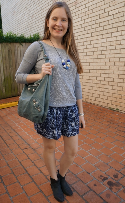 embellished grey knit jumper ankle boots with printed soft relaxed fit shorts, Balenciaga day bag   AwayFromBlue
