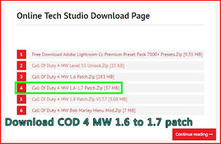 Download COD 4 MW 1.6 to 1.7 patch