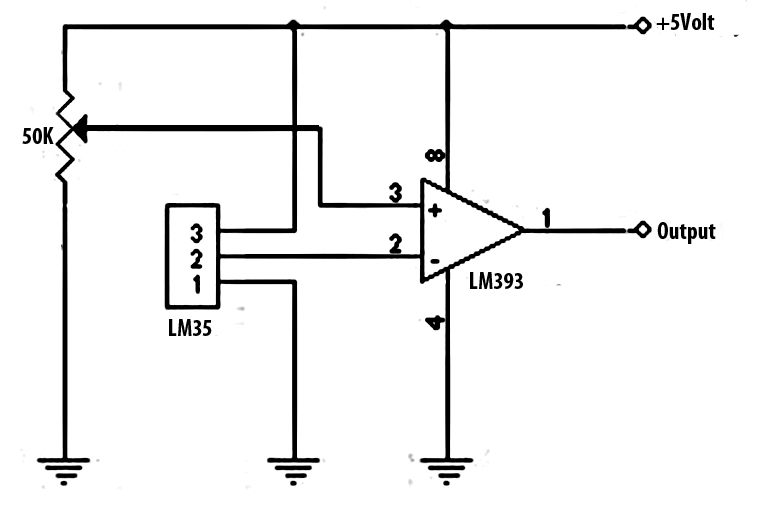 battery charger temperature sensor circuit with lm35 ic schematics