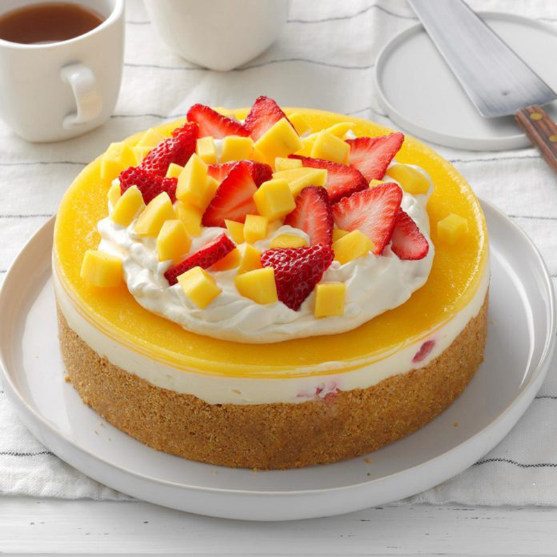 Mango Strawberry Cheesecake