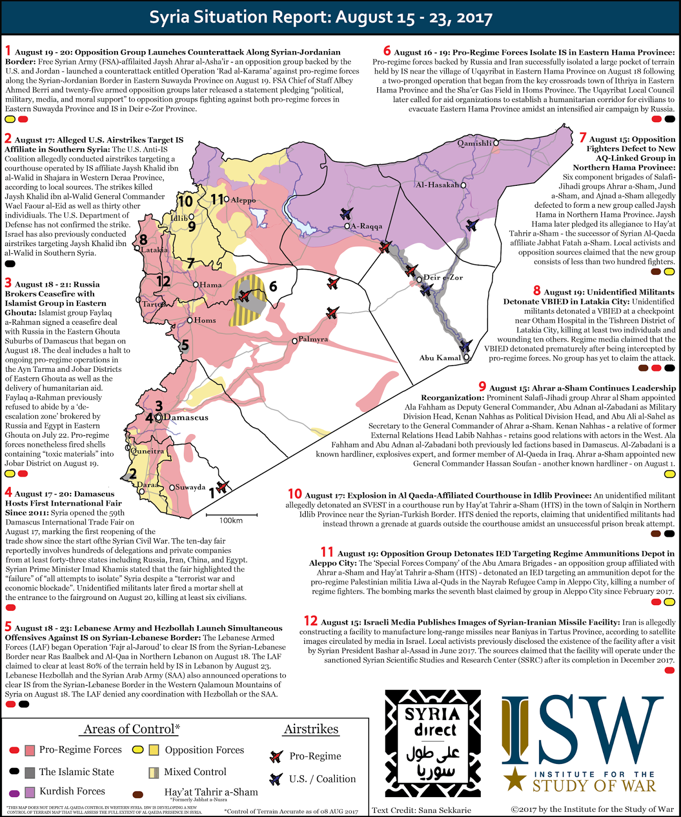 Syria Situation Report: August 8 - 23, 2017