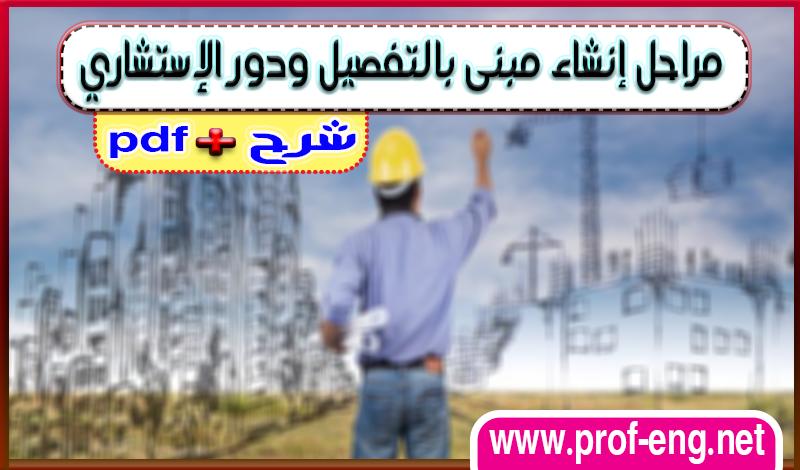 مراحل انشاء مبني بالتفصيل ودور الاستشاري من الحفر إلى التشطيب + pdf
