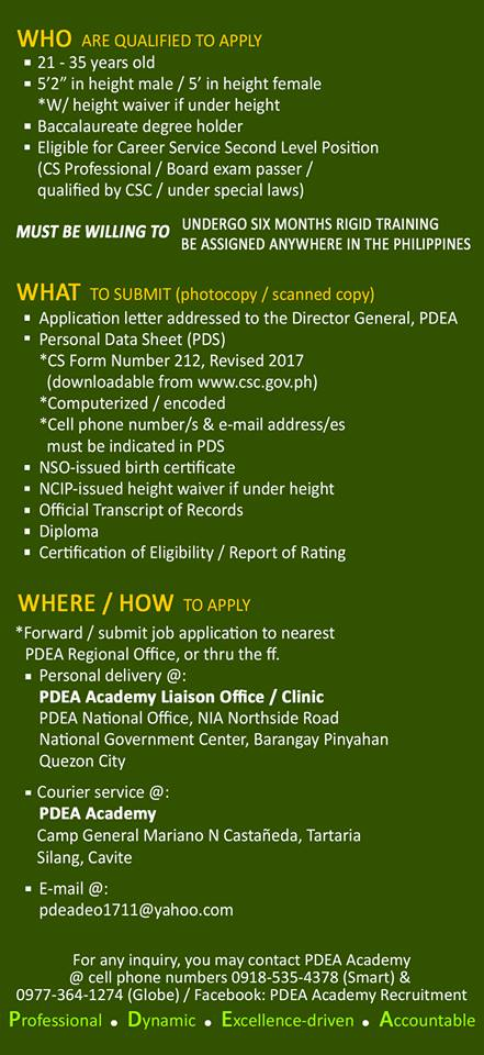 PDEA is now Hiring Drug Enforcement Officers (DEO) for 2019