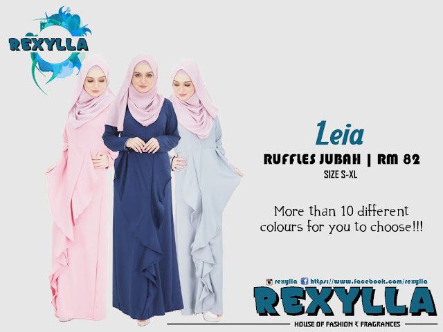 rexylla, ruffles jubah, leia collection