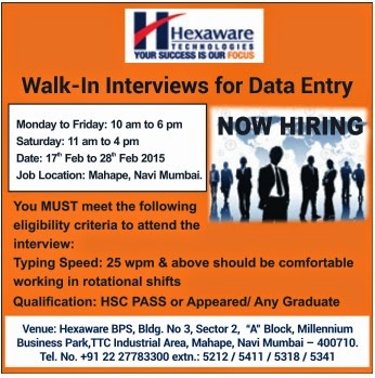 JOBS FROM EMPLOYMENT NEWS: JOB IN HEXAWARE TECHNOLOGY FOR