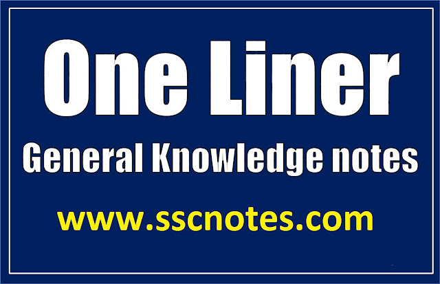 Top 50 Basic General Knowledge One liner Notes for Competitive Exams