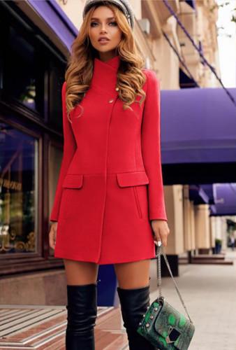 Palton de femei elegant rosu de iarna din stofa Tania ieftin