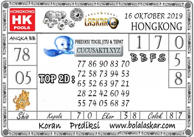 Prediksi Togel HONGKONG LASKAR4D 16 OKTOBER 2019