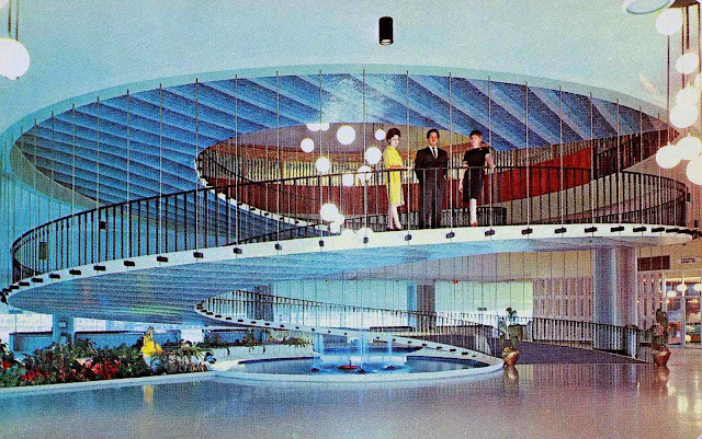 1960 spiral lobby ramp, suspended
