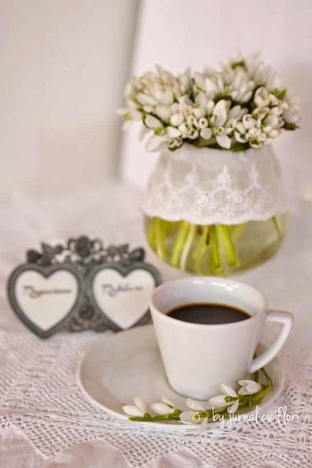 poza foto ghiocei galantus shabby chic dantela inimi cafea aranjament