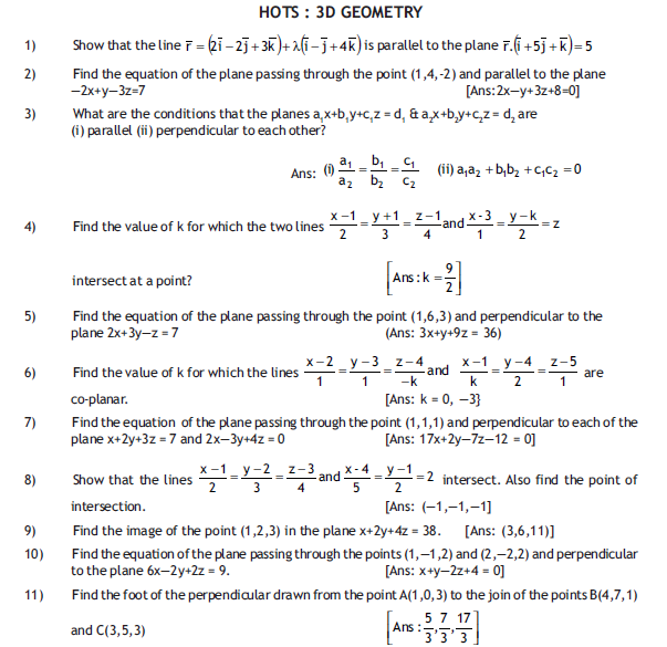 3 D GEOMETRY HOT Questions ,free study material for class 12 mathematics