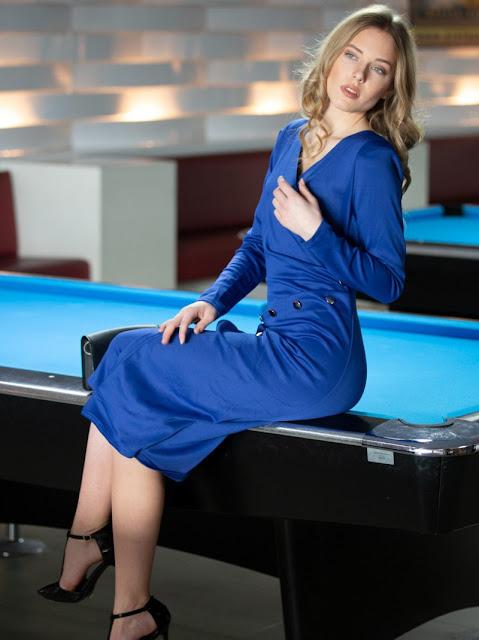 Long Sleeve Asymmetric Dress Evelyn Blue