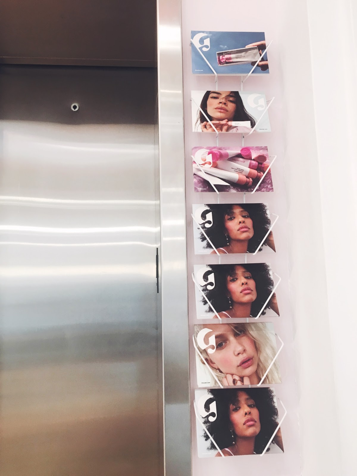 glossier postcards, glossier showroom, glossier nyc
