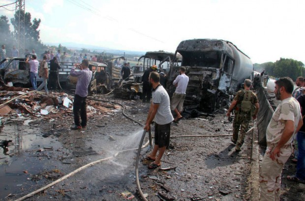 isis suicide bombers attack syria today
