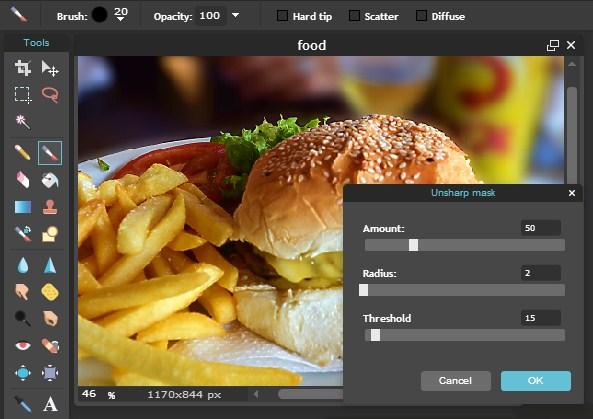 edit foto makanan dengan cara online