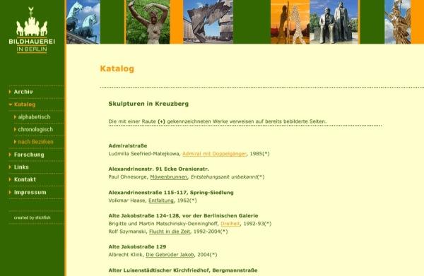 Bildhauerei in Berlin, catálogo y guía de las esculturas urbanas de Berlín