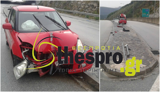 Ηγουμενίτσα: ΙΧ έπεσε πάνω σε πινακίδα (+ΦΩΤΟ)