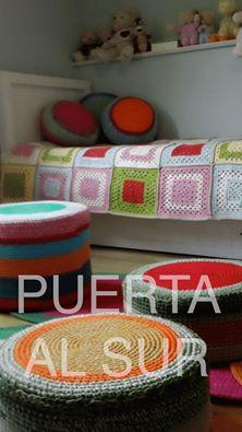 decoracion infantil tejido crochet - Decoración infantil muy colorida tejida a crochet
