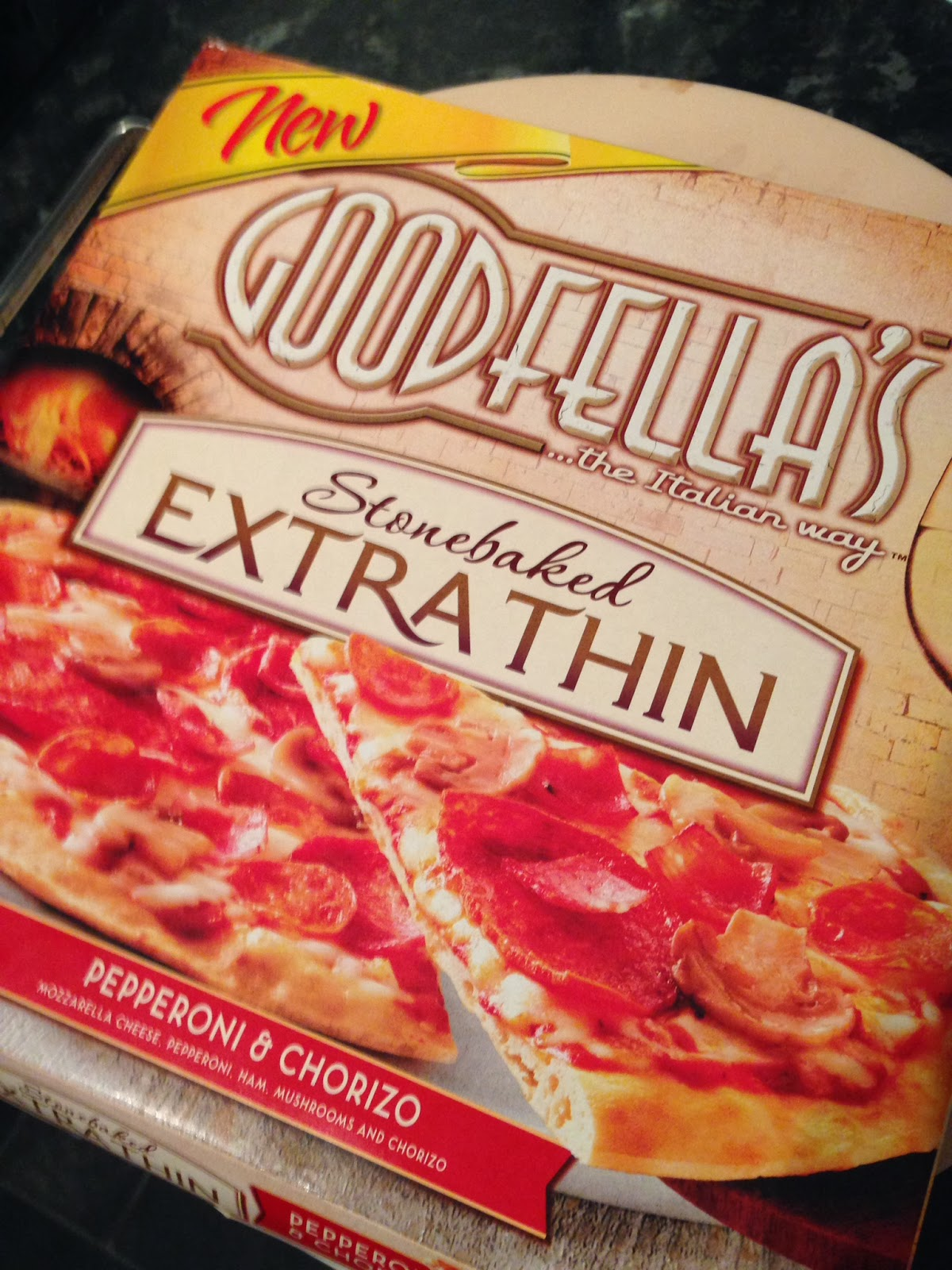 goodfellas exrtra thin pepperoni and chorizo pizza
