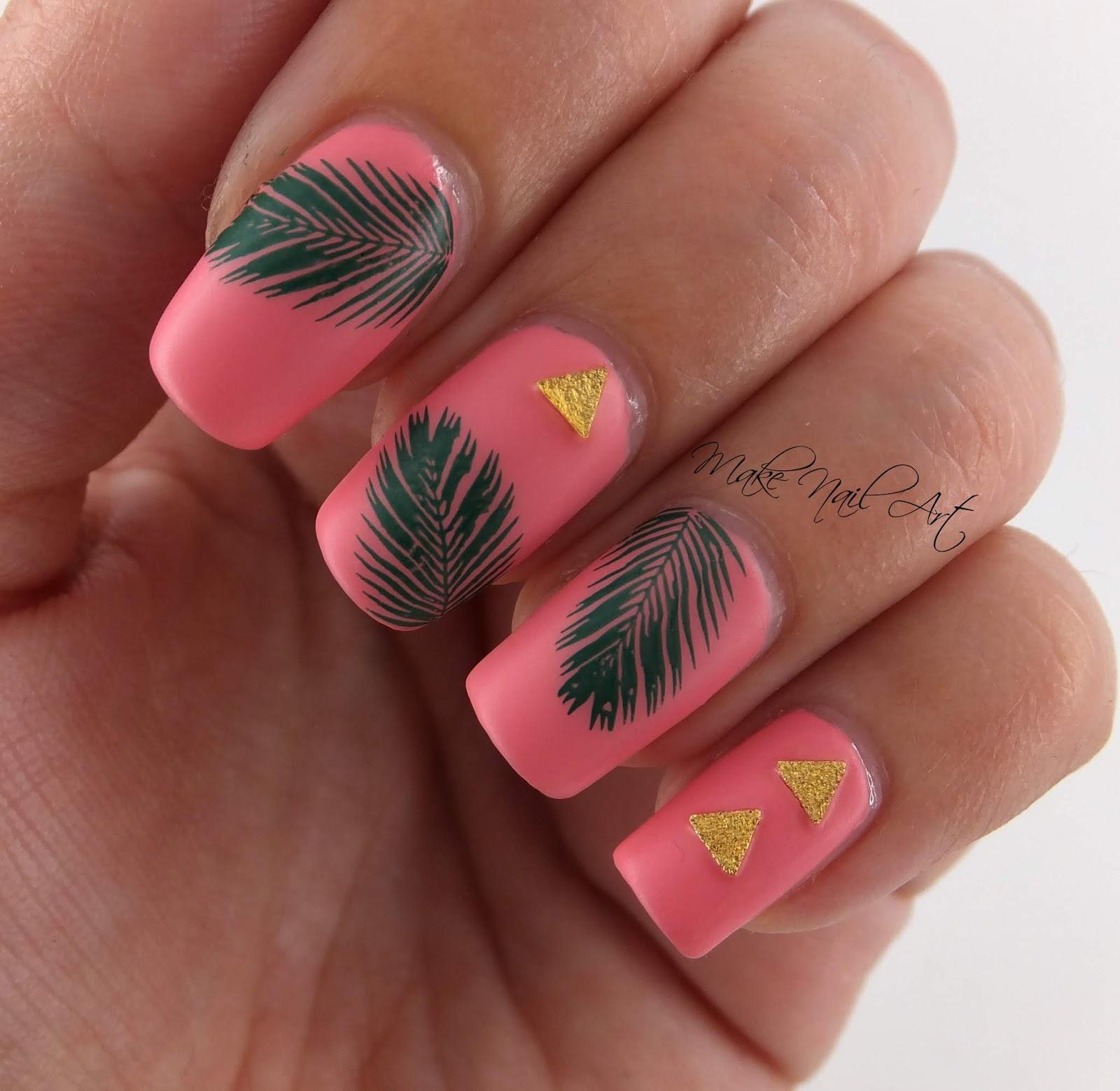 Make Nail Art: Summer Palm Leaves Nail Art Design Tutorial