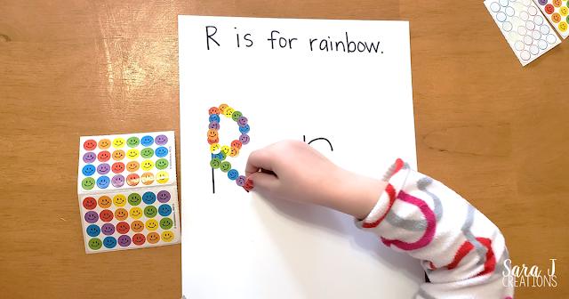R is for Rainbow fine motor practice