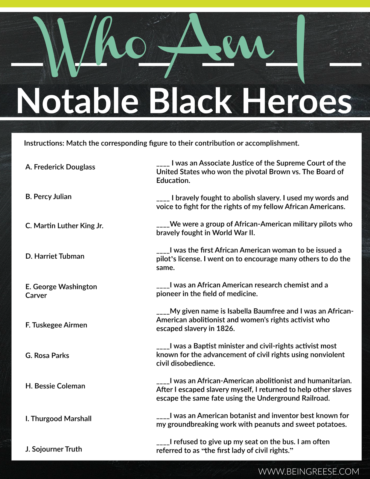 Black history worksheets printables