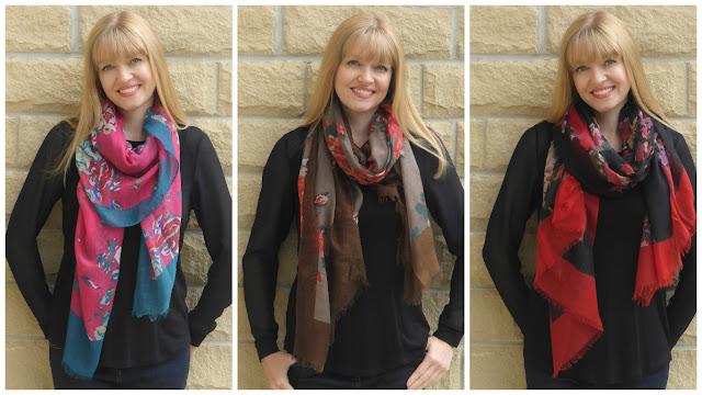 Vibrant floral scarves