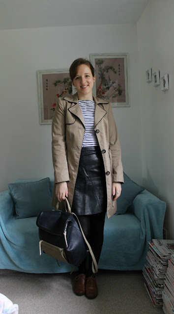 OOTD: Classic Stripes and Leather Skirt, OOTD, Primark Stripy Top, Primark Stripey Top, Zara Leather Skirt, Leather Skirt, Fashion, Fashion Blogger