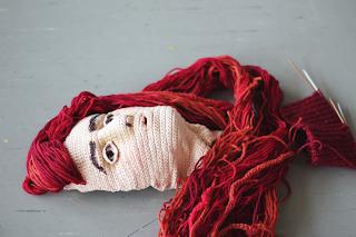 Finished realiistic crocheted self portrait
