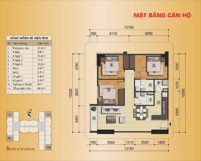 Thiết kế căn hộ 3 ngủ, loại căn góc tại Gemek Premium