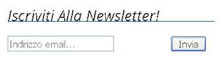 Come si presenta il campo di sottoscrizione della newsletter