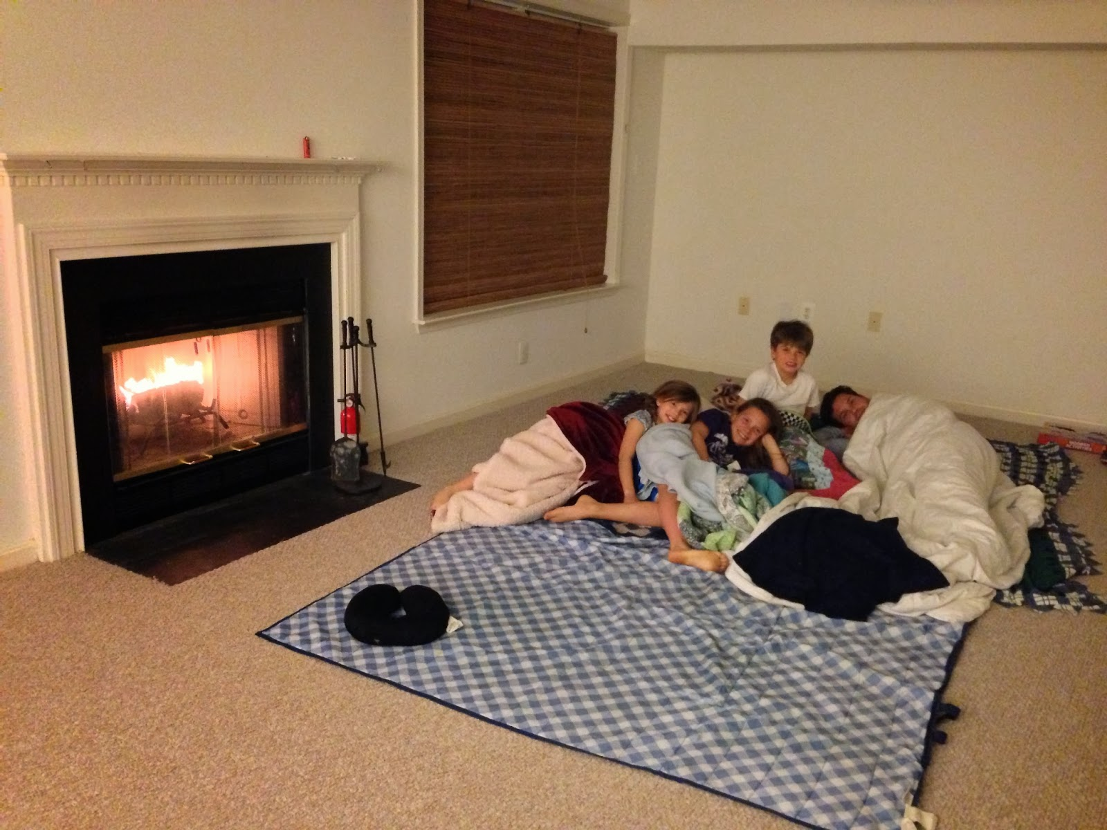maryland, fireplace, family sleepover