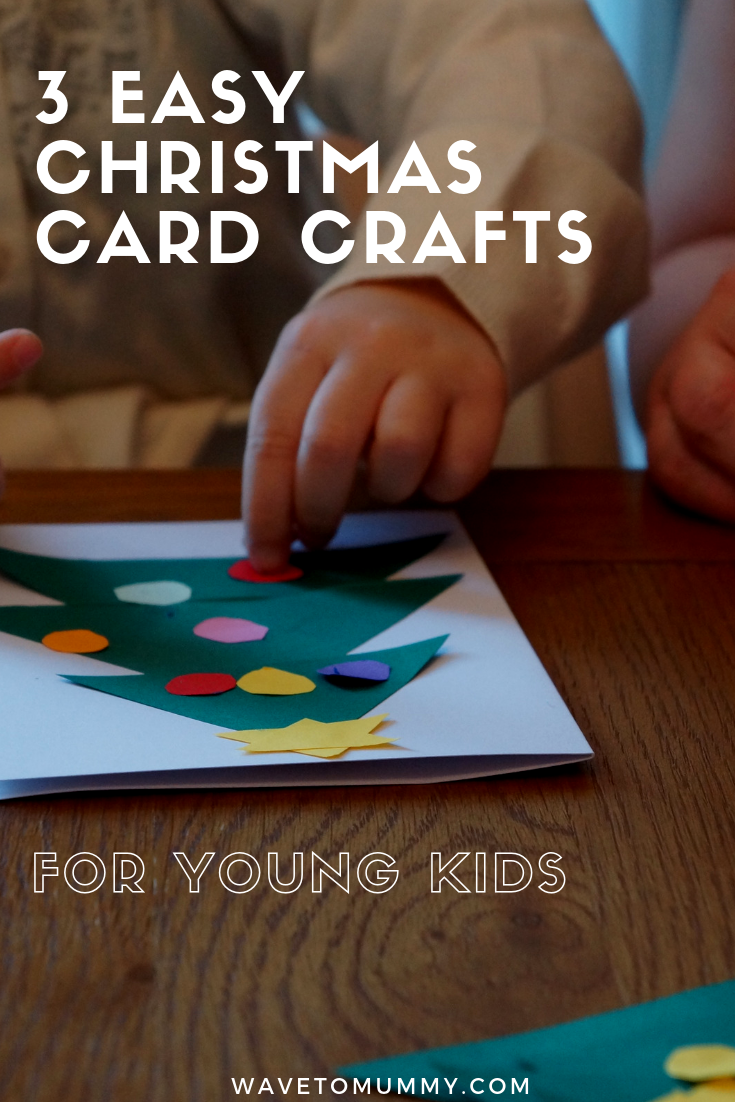 3 easy, quick and non-messy Christmas card crafts to do with toddlers or young kids - includes a Christmas tree, a stack of gifts and a poinsettia. Easy to do, you only need glue, paper, card and scissors.