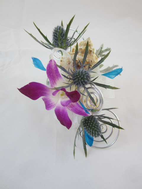 -Client connection- Blue Ocean Wrist corsage by Lori Kunian CFD