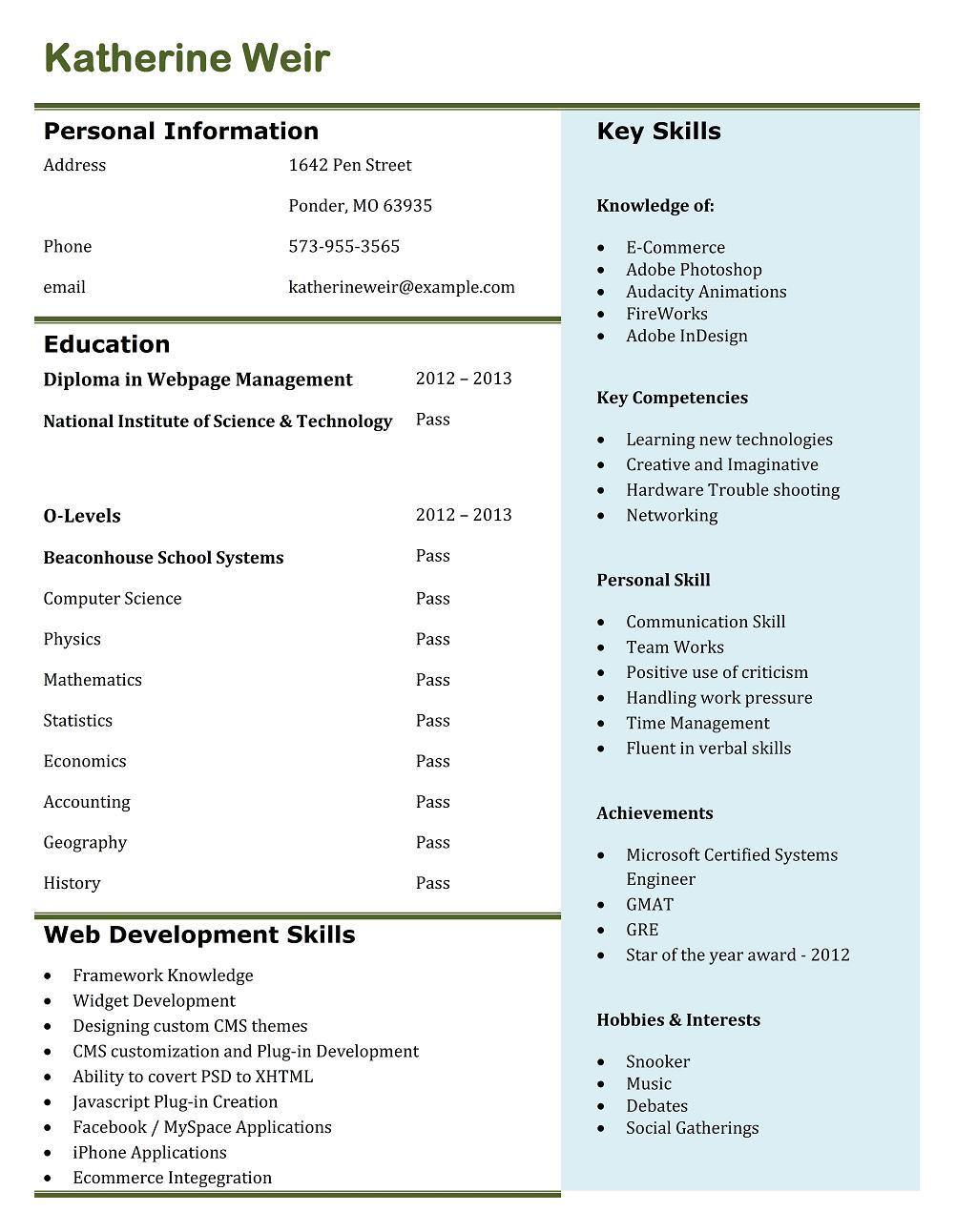 stunning resume format for tcs interview pdf images exle
